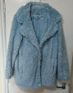 Red Herring Baby Blue Faux Fur Teddy Bear Coat Pockets Party Evening Funky UK 12