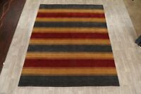 Soft Plush Striped Design Gabbeh Wool Area Rug Hand-Knotted Oriental Carpet 8x10
