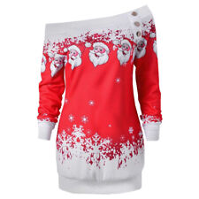 Womens Christmas Ladies One Shoulder Sweatshirt Pullover Jumper Tops Blouse Xmas