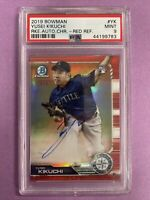 2019 Bowman Chrome Yusei Kikuchi RC Rookie Red Refractor Auto 5/5 PSA 9 MINT