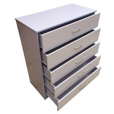 Chest of Drawers 5 White **Anti-Bowing Drawer Support** Bedroom Redstone