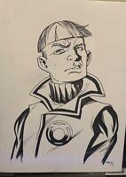 Guy Gardner Sketch By Mike McKone. 9x12 Inked Bust