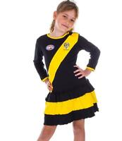 AFL Girls Richmond Tigers Long Sleeve Dress with Frills Brand New Stock