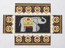 Susan Roberts Elephant & Rose Brick Cover Door Stop handpaint Needlepoint Canvas