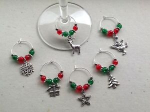 Handmade Set of 6, 8 or 10 Christmas Wine Glass Charms, party, stocking filler.