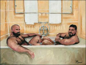 Mann Art NUDE MALE BATHTUB BEARS Original Oil Painting Gay Hairy Beefcake