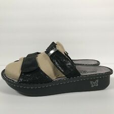 Alegria 41 Karmen Black Metallic Fun Adjustable Slip On Womens Sandals Shoes