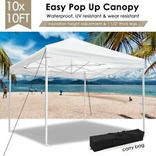 10x10 ft EZ Pop Up Canopy Outdoor Wedding Party Tent Garden Event Shelter White