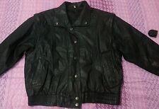 lotto 70sn Giacca giubbotto jacket pelle morbida chiodo nera uomo tg.52