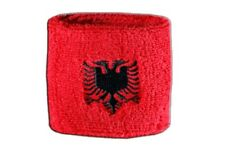 Schweißband Fahne Flagge Albanien 7x8cm Armband für Sport