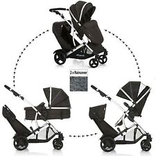 NEW HAUCK DUETT 2 DOUBLE TANDEM TWIN PUSHCHAIR PRAM STROLLER BUGGY+RAINCOVERS