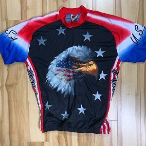 Vintage WORLD JERSEYS Mens Cycling Jersey Size 2XL USA BALD EAGLE RARE