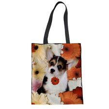 Floral Womens Shopping Bag Tote Canvas Handbag Shoulder Bag Lovely Animal Corgi