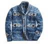 $1400 RRL Ralph Lauren Indigo Blue Shawl Southwestern Hand Knit Cardigan NWT L