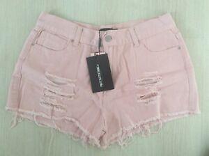 Pretty Little Thing Size 12 Denim Hot Pants (pink)