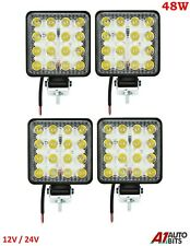 48w 16 Led Work Flood Beam Lamps Lights X4 10-30v Tractor Agricultural Vehicles