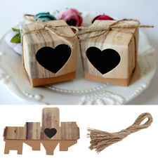 50x Heart Love Rustic Sweet Laser Cut Candy Gift Boxes Wedding Party Favour UK