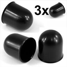 Barra de bola de remolque 3x 50mm Negro Tapa Enganche De Remolque Coche Caravana Remolque towball x3