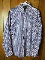Polo Ralph Lauren Men's Blue Red Striped Classic Fit Long Sleeve Shirt 16L