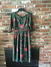 Gorgeous Vtg 1950s Satin Full Skirt Dress 3/4 Sleeves Sz 6 Dark Green Red Roses