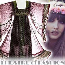 VINTAGE INDIAN DRESS BOHO 70s 6 8 10 12 14 60s HIPPY GAUZE WEDDING GODDESS POET