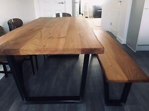 Stunning Handmade Elm Dining Table (like oak industrial reclaimed trapezium)