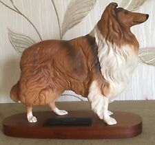 BESWICK DOG COLLIE MODEL No 2581 CONNOISSEUR DOGS ON WOODEN PLINTH VGC