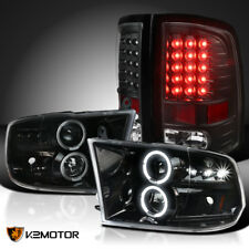 Jet Black 09-18 Ram 1500 2500 3500 Halo Projector Headlight+Black LED Tail Lamps