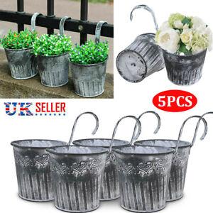 5PCS Hanging Flower Pots Vintage Balcony Garden Fence Plant Iron Planter Decor
