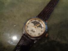 VIntage Moulin Mother of Pearl MoonPhase Moon Phase Watch Lizard Calf Band