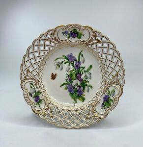 Meissen porcelain reticulated plate. Flowers, c. 1880.