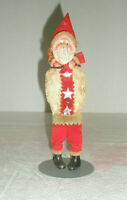 Vintage Cotton & Net Santa & Display Stand Celluloid Face & Hands