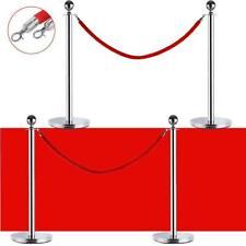 4 Pcs Velvet Rope Stanchion Silver Color Post Crowd Control Queue Pole Barrier