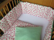 Cushi cots girls cotbed bumper and duvet set vintage rose and Spring green new