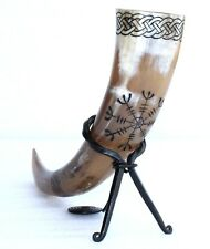 helm of awe Celtic knot carved Viking drinking horn for beer wine Halloween gift