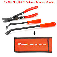 3pc Car Door Trim Panel Clip Upholstery Removal Plier &Fastener Remover Tool Set