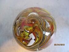 Glass paperweight multi color swirls red yellow orange green b141