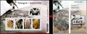 3348 BRAZIL 2016 TATTOO, TATOO, ART ON SKIN, RHM B-200, MS MNH AND BROCHURE