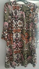 H&M Floral Swing Vestido Túnica Ajuste EU 42 UK 14 - 16 como otras historias Negro Multi
