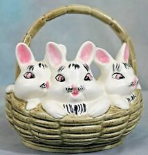 Easter Basket Ceramic Hand Painted 3 Bunnies Rabbits Holiday Collectible 1960s