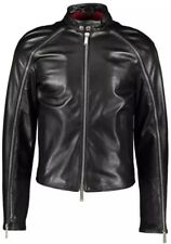 Dsquared2 Designer Black Leather Biker Zip Jacket IT50 UK40 RRP£1,805