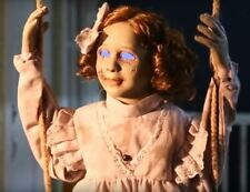 Animated Swinging Decrepit Doll Halloween Prop Haunted House Cold Blue Eyes