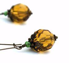 Halloween Pumpkin Earrings, Crystal Glass Faceted Amber Colour Earrings