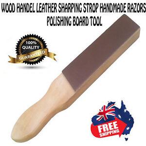 NEW Wood Handle Leather Strop Sharpening 2 Sided Knives Razors Polish Tool 1PCS