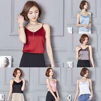 Ladies Satin Silk Like Cami Strappy T-shirt V Neck Sleeveless Top Tee Vest Tank