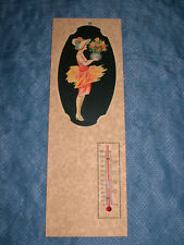 EARLIER 1900S VICTORIAN LADY with  FLOWERS TEMPERATURE GAUGE