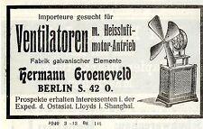 Importeuere für Ventilatoren m. Heissluftmotor-Antrieb. Kolonialwerbung von 1908