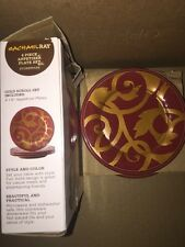 rachel ray dinnerware Gold Scroll 4 Appetizer Plate Set Cranberry Red