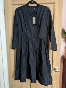 Cos Navy Blue Taffeta Skater Dress Size 18 BNWT