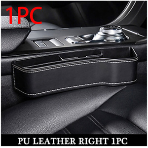 Black PU Leather Car Right Seat Crevice Storage Box Cup Holder Auto Accessories